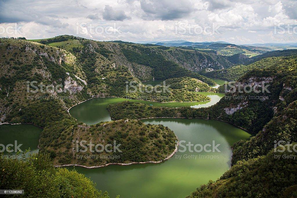 Uvac river in Serbia stock photo