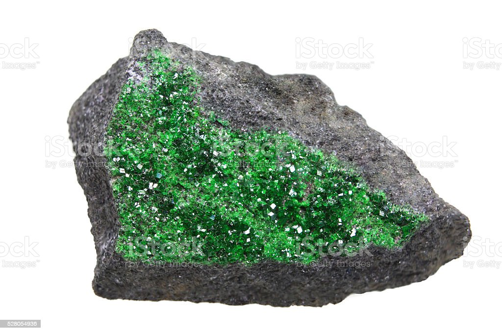 Uvarovite - green garnet stock photo
