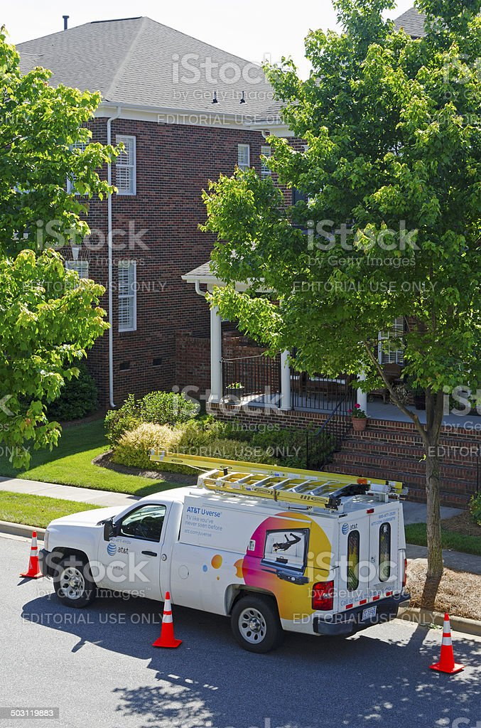 AT&T Uverse Cable Van royalty-free stock photo