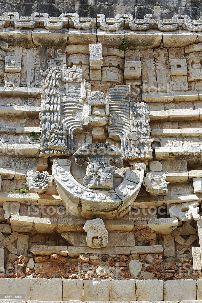 Uxmal Mexico Governors Palace Stone Art Above Structure Entrance royalty-free stock photo