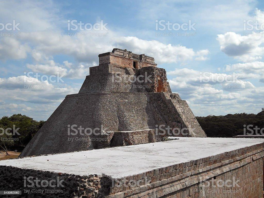 Uxmal, Pyramid of the Magician Mexico Yucatan stock photo
