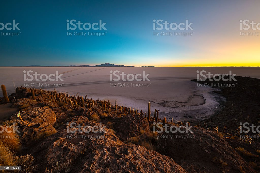Uyuni Salt Flat on the Bolivian Andes at dawn stock photo