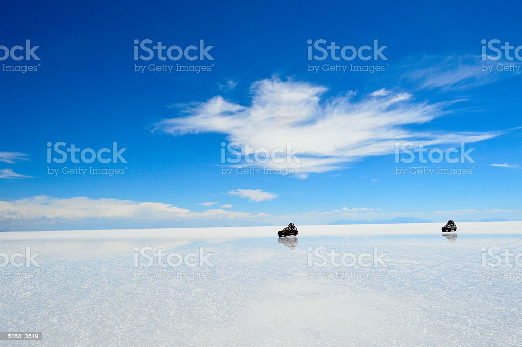 Uyuni Salt Flats 4x4 Driving stock photo