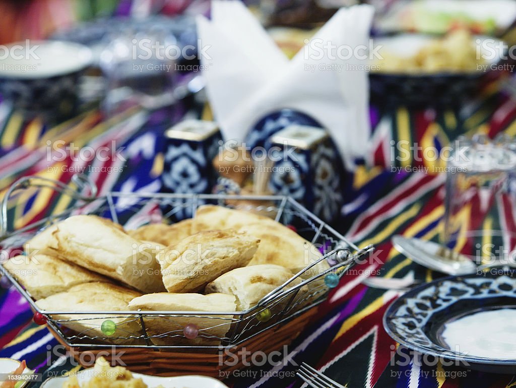 Uzbek caces served at table royalty-free stock photo