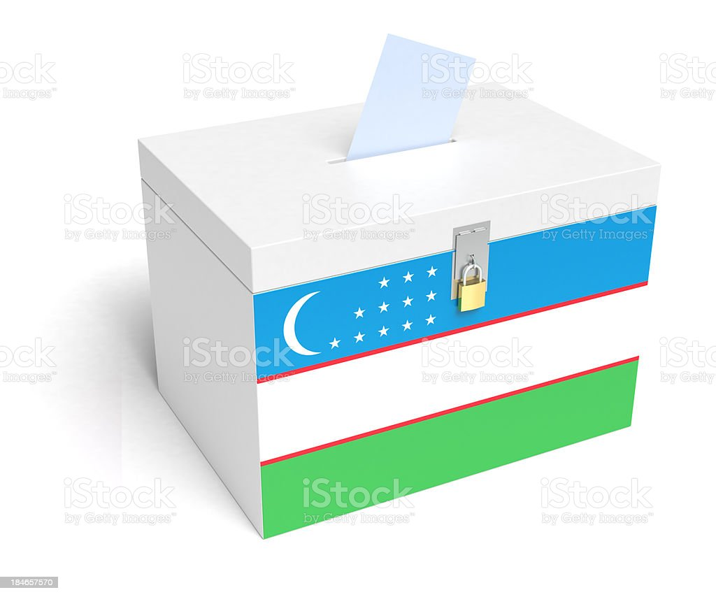 Uzbek Flag Ballot Box stock photo
