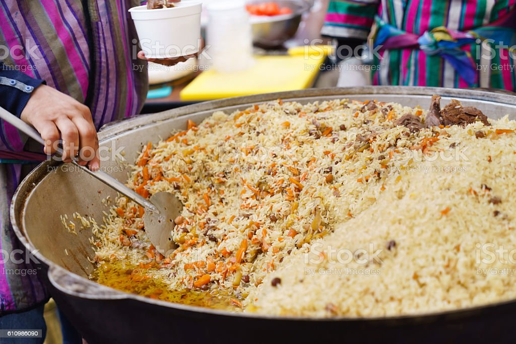 Uzbek pilaf stock photo