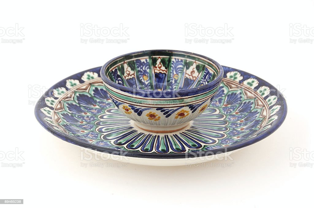 Uzbek Tea Cup and Desert Plate royalty-free stock photo
