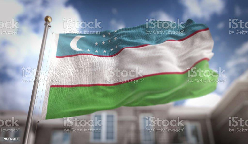 Uzbekistan Flag 3D Rendering on Blue Sky Building Background stock photo