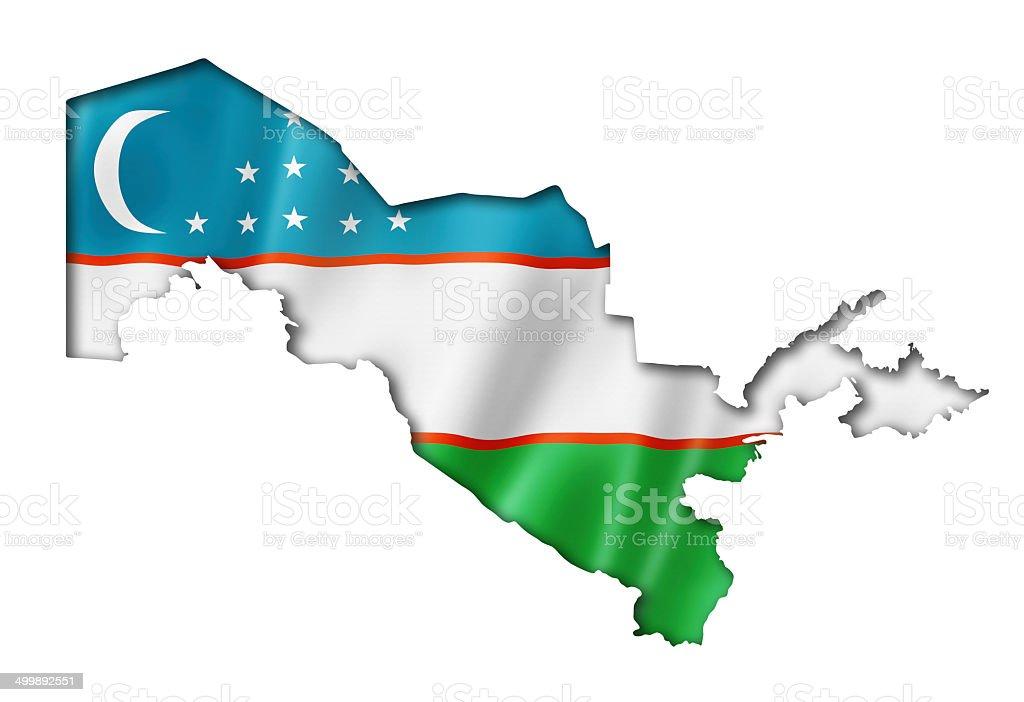Uzbekistan flag map stock photo