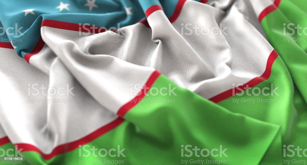 Uzbekistan Flag Ruffled Beautifully Waving Macro Close-Up Shot stock photo