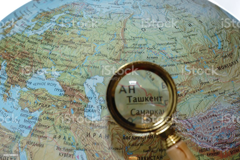 Uzbekistan on Russian globe stock photo