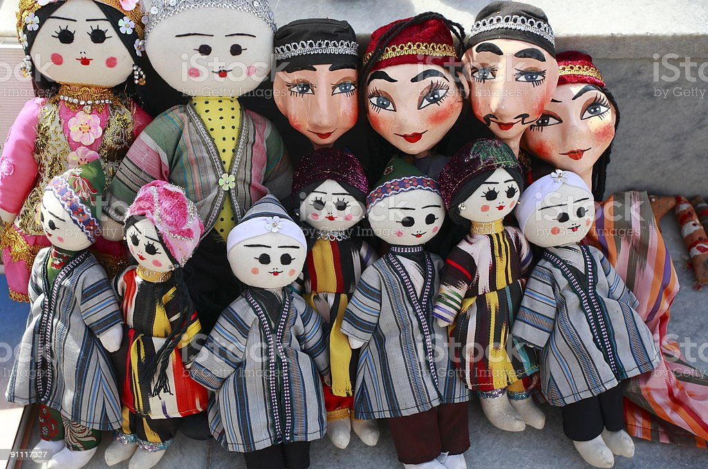 Uzbekistan traditional doll character stock photo