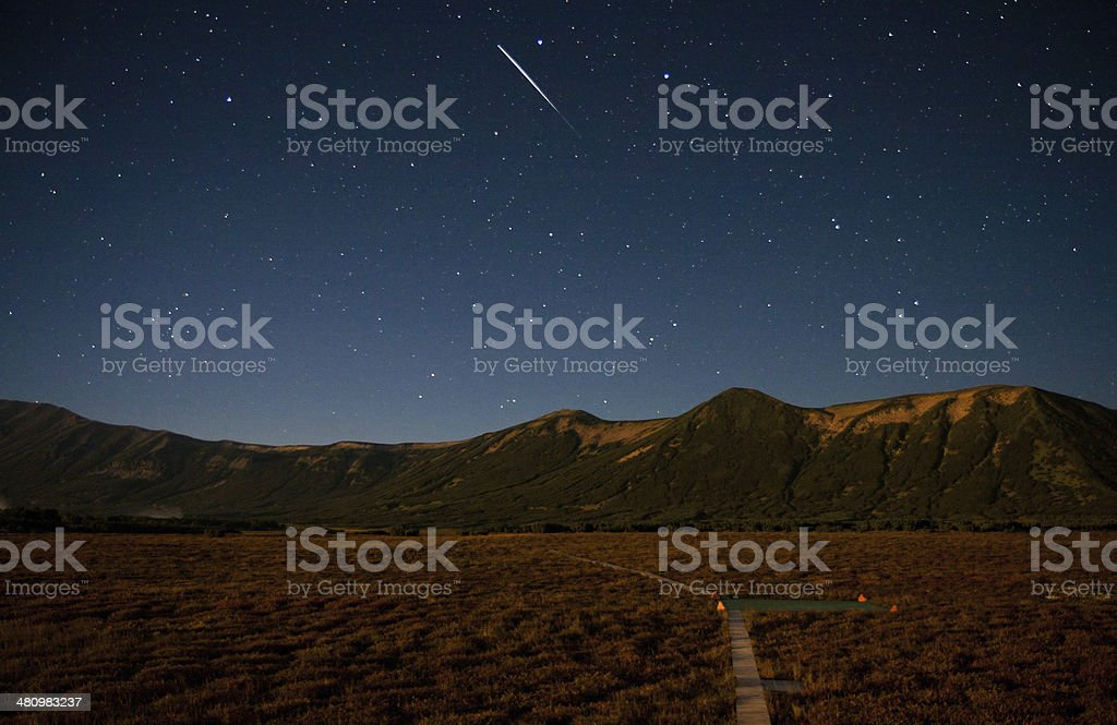 Uzon at night, Kronotsky nature reserve, Russia stock photo