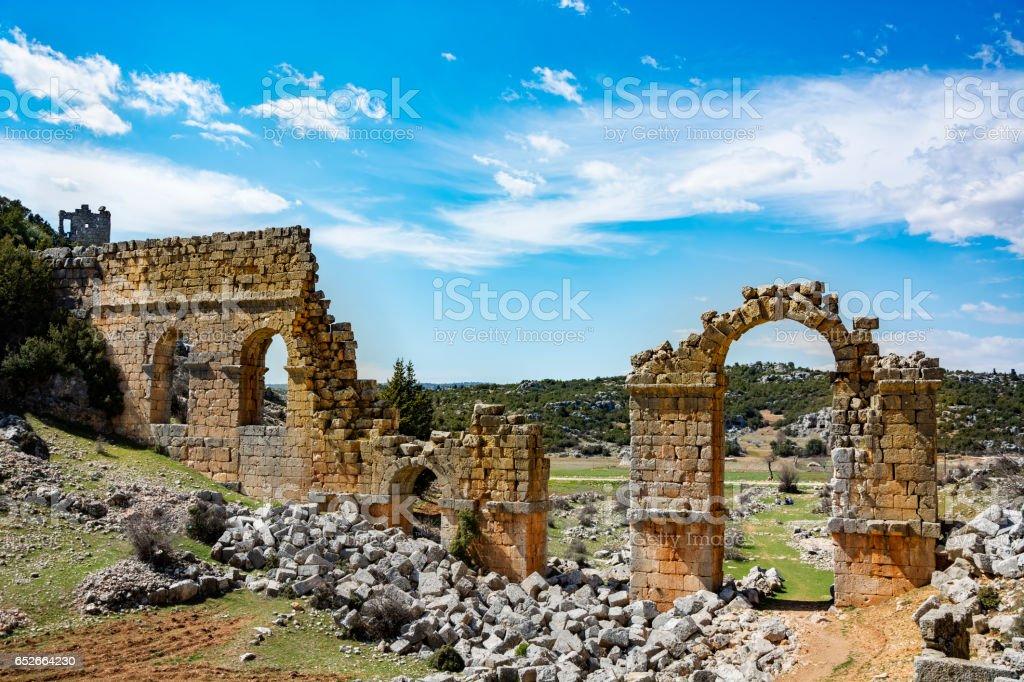 Uzuncaburc ruins. mersin-Turkey - Ruins of ancient cities olba, Aqueduct stock photo