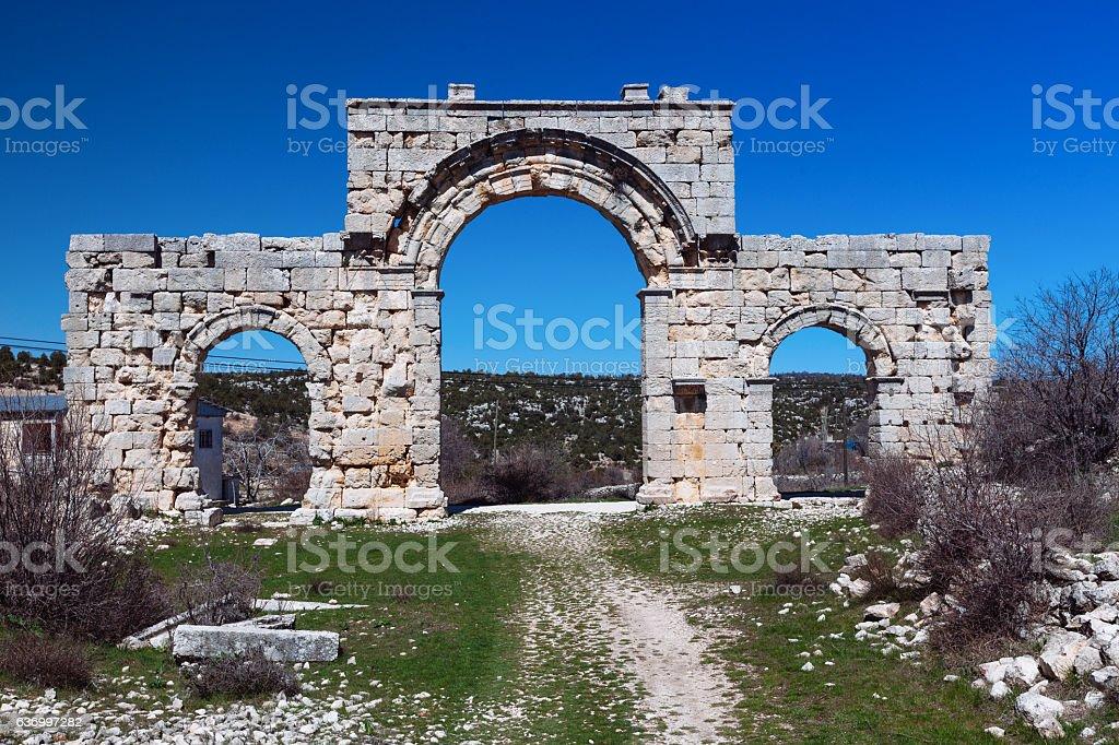 Uzuncaburc ruins,mersin turkey stock photo