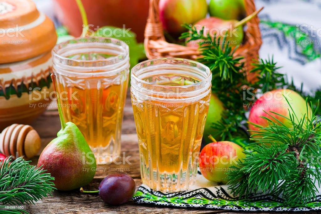 uzvar , traditional hot Ukrainian drink stock photo