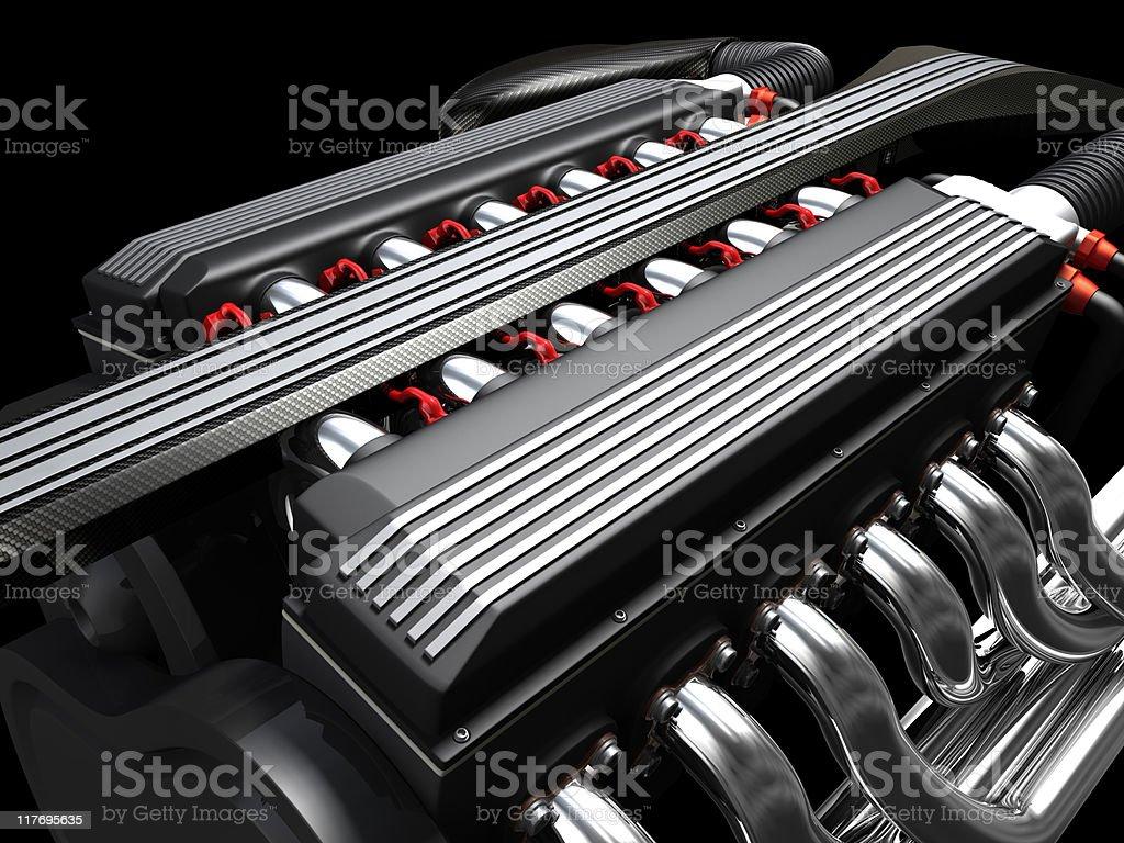 A v12 engine on black background royalty-free stock photo