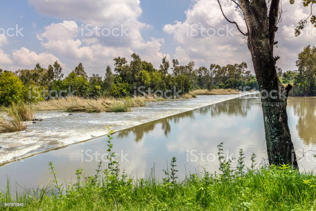 Vaal River at Parys town in the Free State Province stock photo