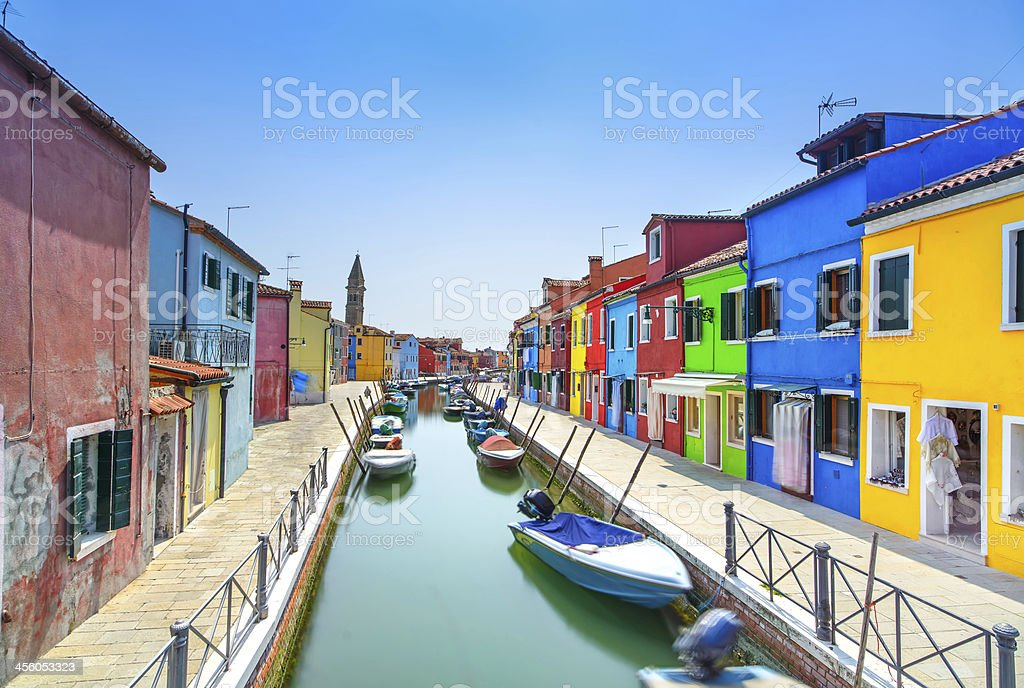 A vacancies view or Venice on Burano Island Canal with boats stock photo