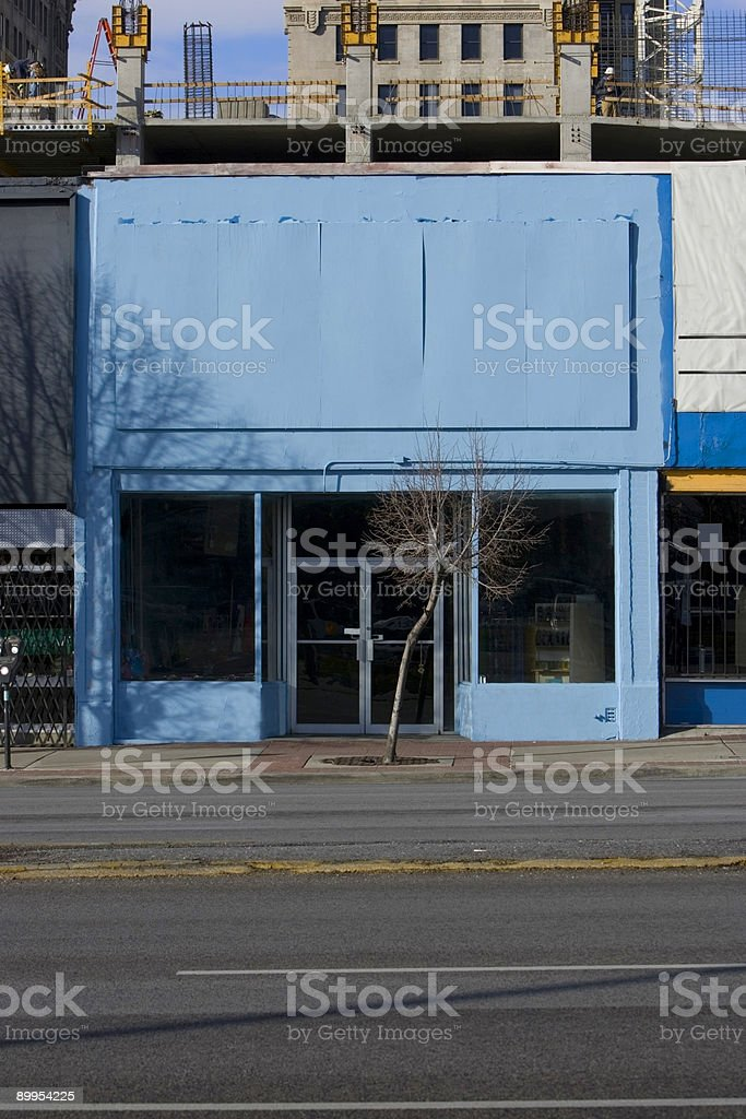 Vacant Blue Storefront with Blank Facade for Copy/Text royalty-free stock photo