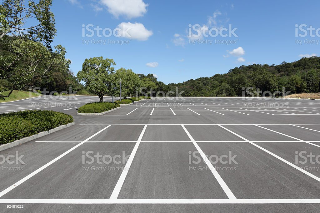 Vacant car parking lot stock photo
