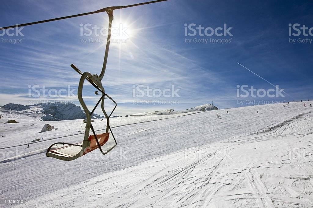 vacant chair of a ski-lift royalty-free stock photo