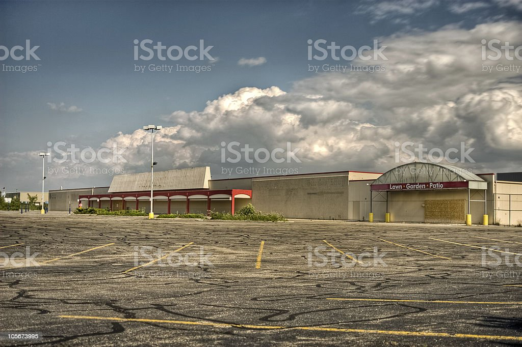 Vacant commercial store parking lot stock photo