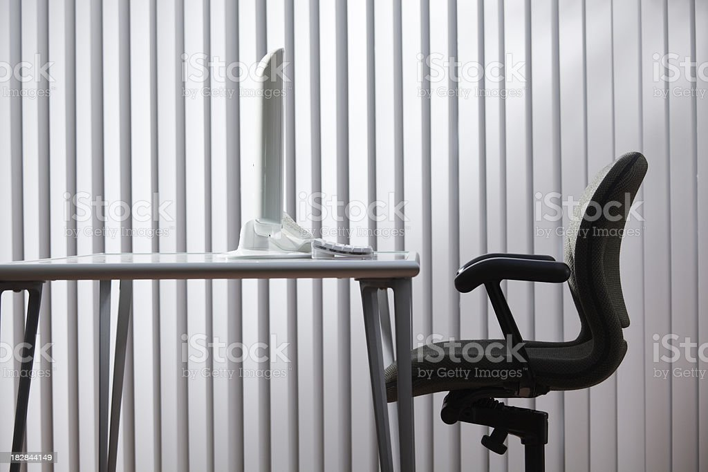 Vacant Empty Business Office Space with Furnishing and Desktop Computer royalty-free stock photo