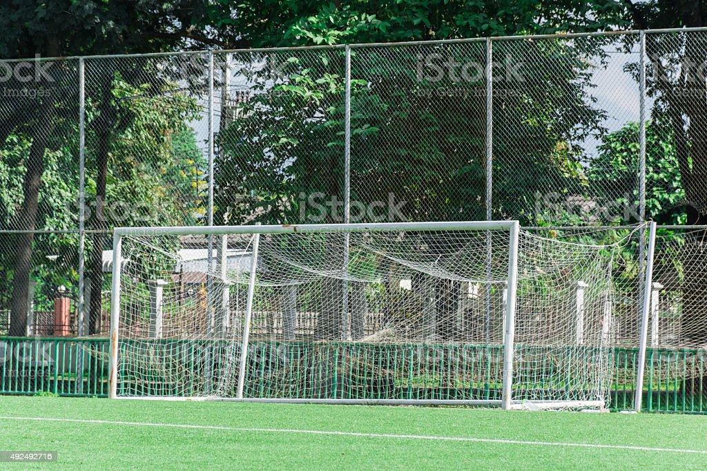 Vacant Football Goal stock photo