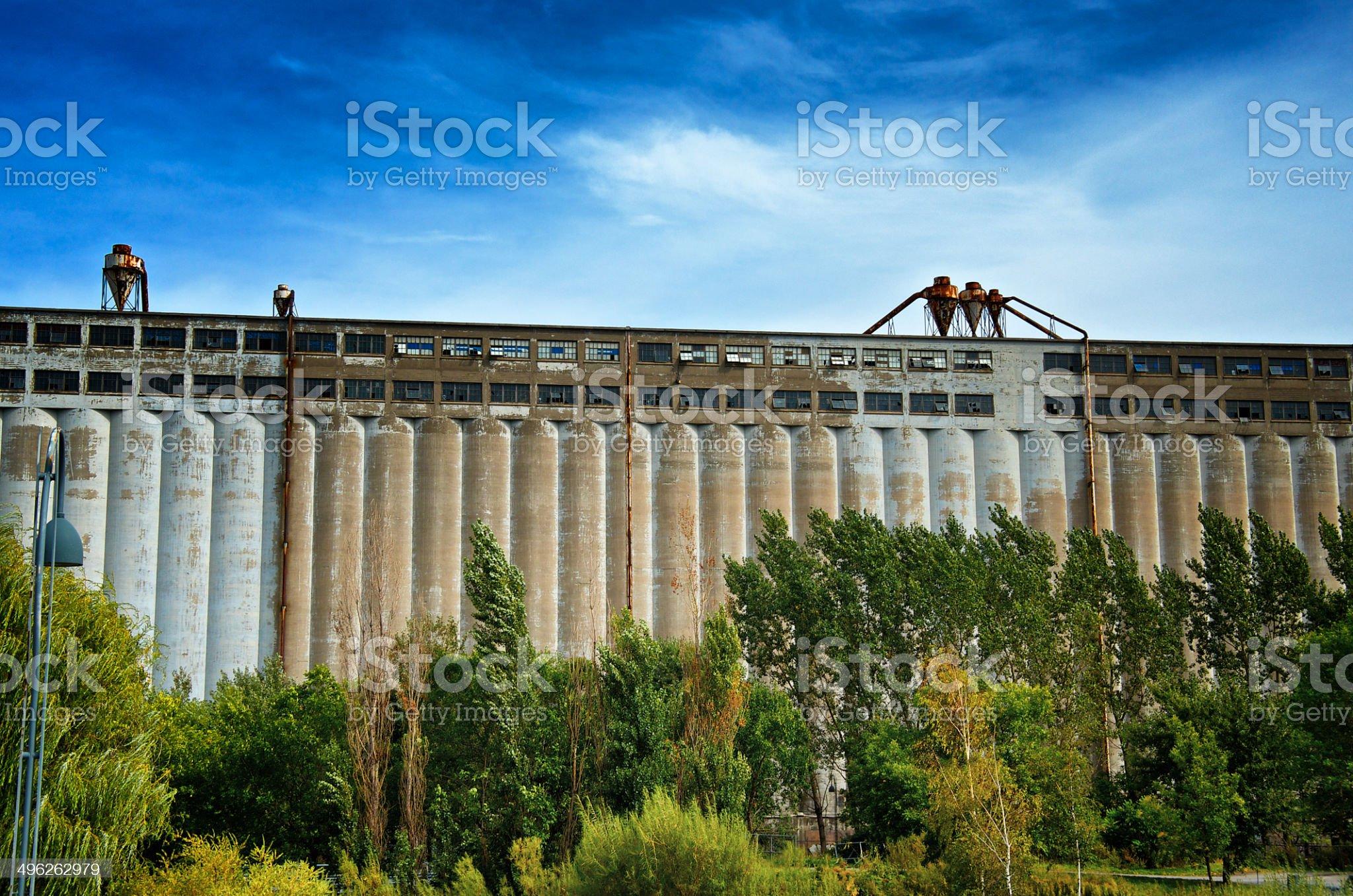 Vacant Grain Silo No.5, Pointe-du-Moulin, Montreal, Quebec, Canada royalty-free stock photo