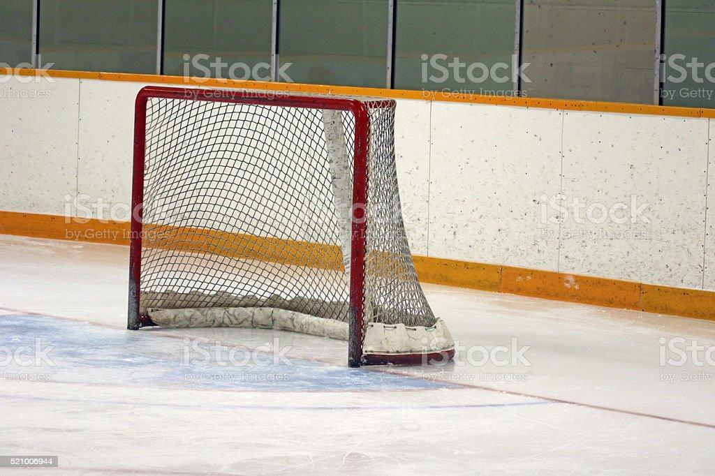 Vacant Ice Hockey Net stock photo