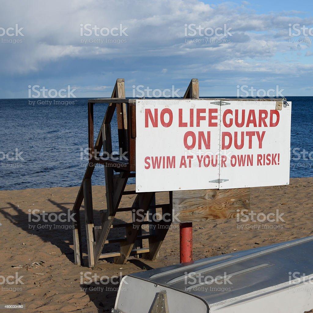 Vacant Lake Superior Lifeguard Station in Fall stock photo