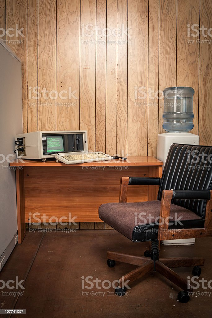 Vacant vintage 70's or 80's wood office interior stock photo