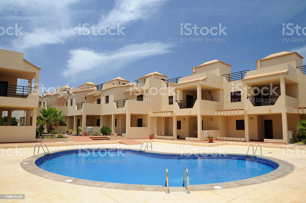 Vacation apartments with pool royalty-free stock photo
