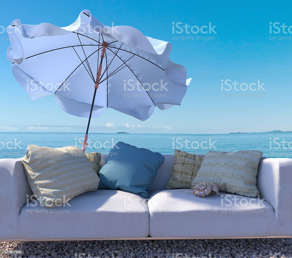 vacation background with interior elements and seashell stock photo