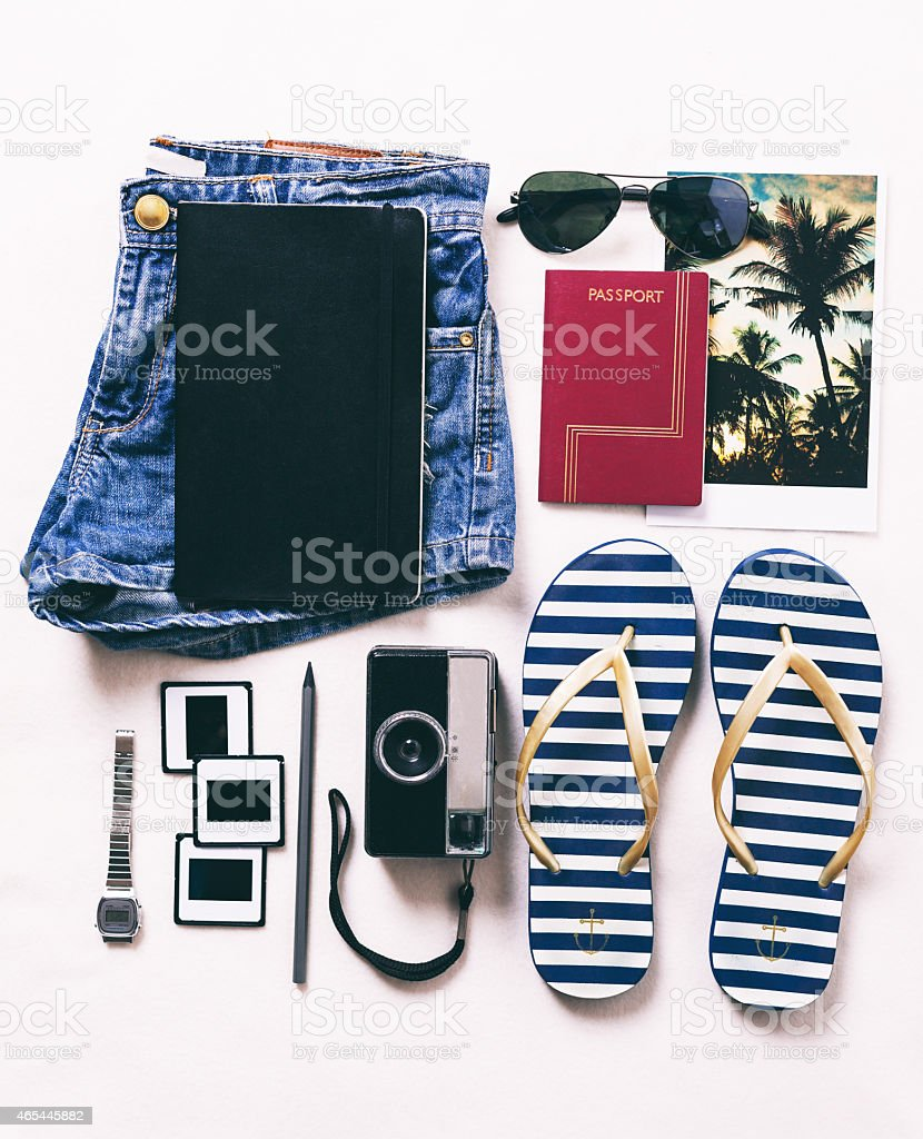 Vacation essentials. stock photo
