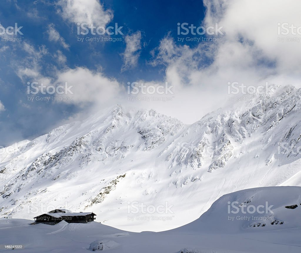 vacation house in mountains stock photo