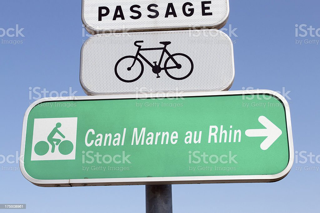 Vacation in Alsace - signpost of a bicycle path stock photo