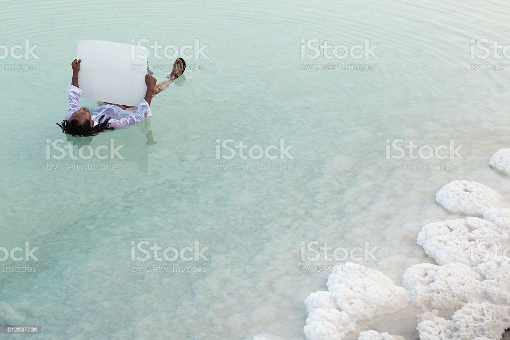 Vacation in Dead Sea. stock photo