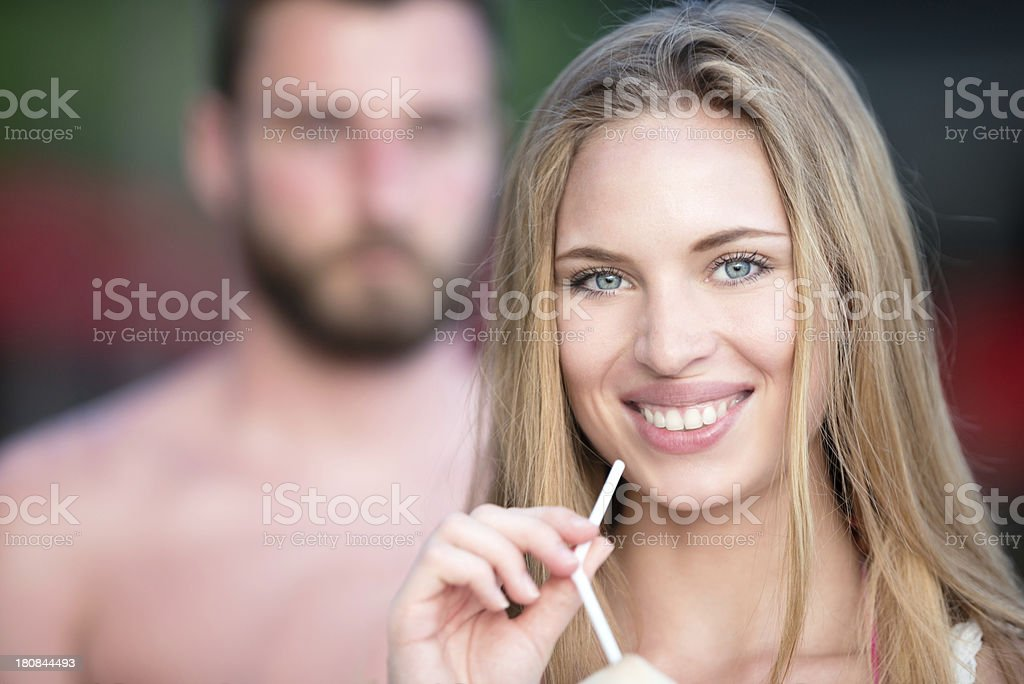 Vacation in Paradise, Beautiful Woman Portrait royalty-free stock photo
