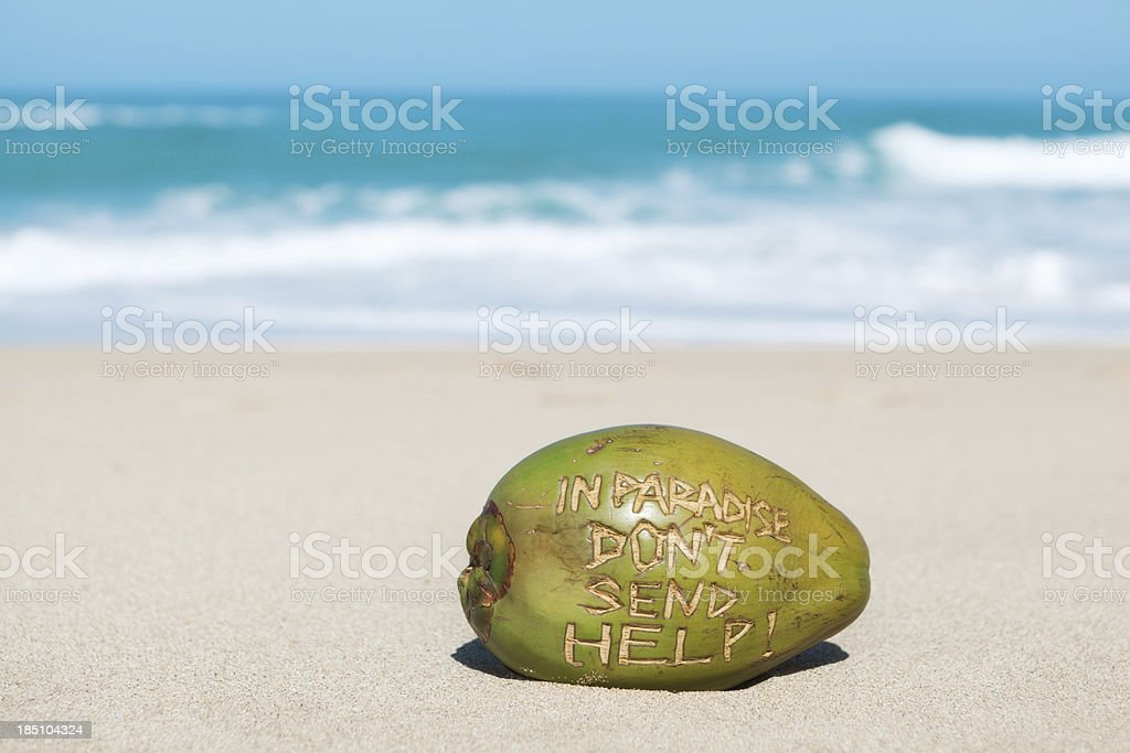Vacation in Paradise Coconut Message to Home Hz royalty-free stock photo