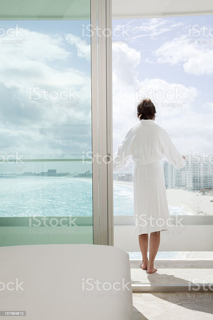 Vacation in Resort Hotel Room Balcony royalty-free stock photo