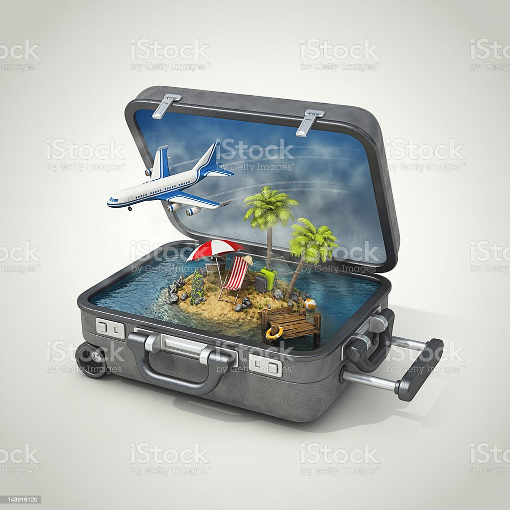 vacation island in suitcase vector art illustration