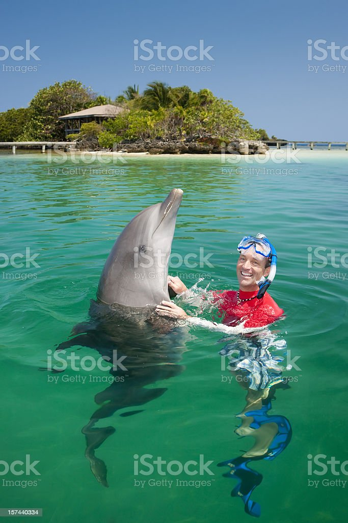 Vacation Lifestyles-Man Swimming with Dolphin stock photo