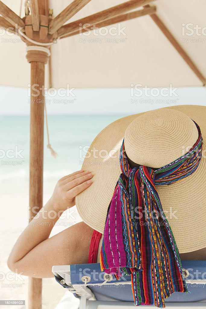 Vacation on the Tropical Beach Sunbathing and Relaxing Vt royalty-free stock photo