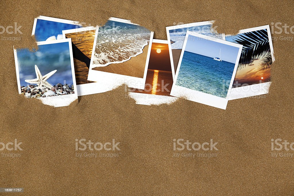 Vacation photos on the sand royalty-free stock photo