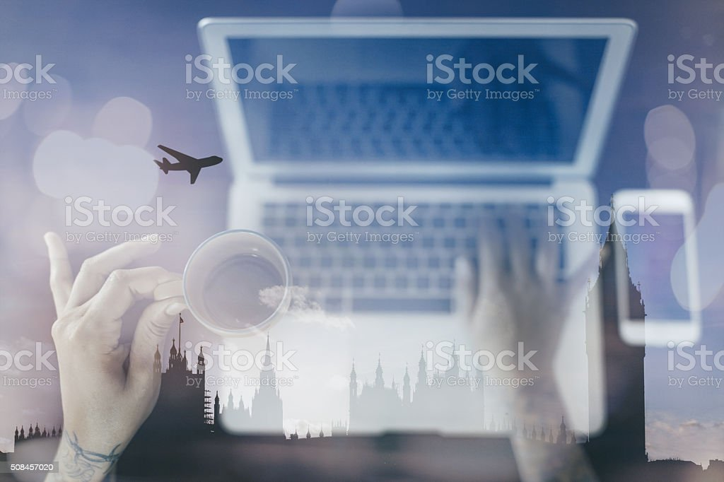 Vacation planning at home and Online ticket booking stock photo