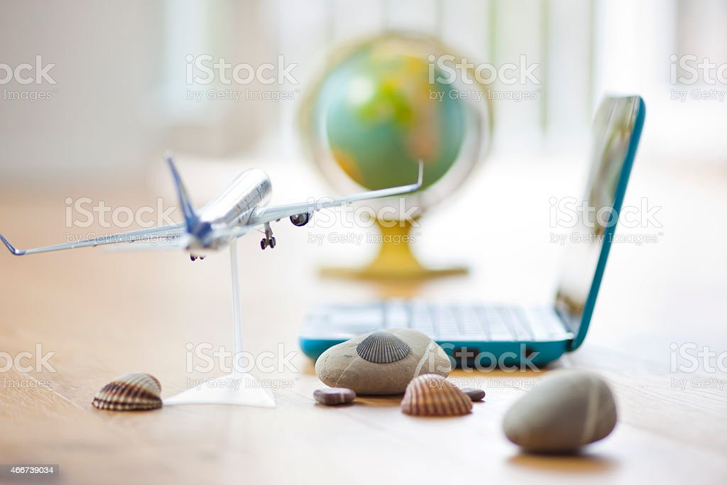 Vacation planning at home stock photo