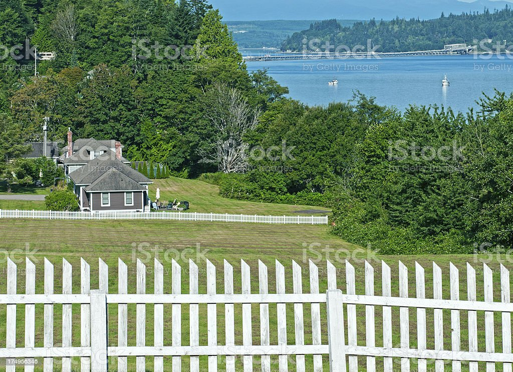 Vacation rental houses in historic mill town stock photo