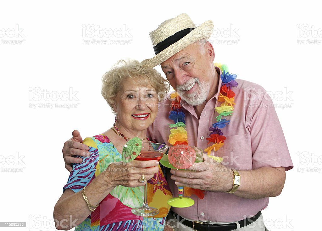 Vacation Seniors With Cocktails royalty-free stock photo